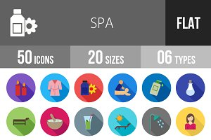 50 Spa Flat Shadowed Icons