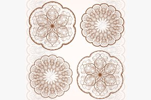 Set decorative circular ornaments