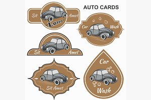 Set of vintage car cards