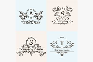 Set ornamental company logos