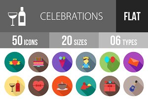 50 Celebrations Flat Shadowed Icons