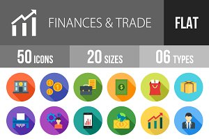 50 Finance Trade Flat Shadowed Icons
