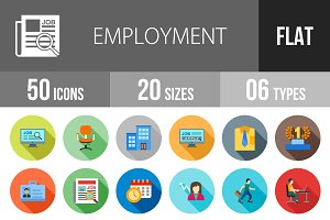 50 Employment Flat Shadowed Icons