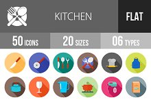 50 Kitchen Flat Shadowed Icons