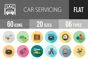 60 Car Servicing Flat Shadowed Icons