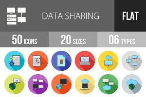 50 Data Sharing Flat Shadowed Icons