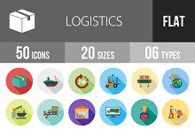 50 Logistics Flat Shadowed Icons