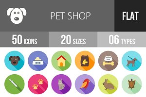50 Pet Shop Flat Shadowed Icons