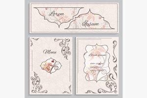 Set floral vintage ornament menu