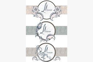 Set vintage ornamental ribbons menu