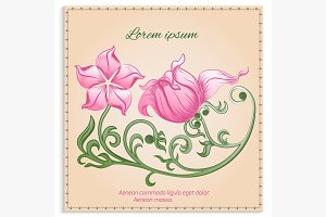 Vintage card with pink flowers