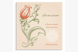 Retro card with red flower