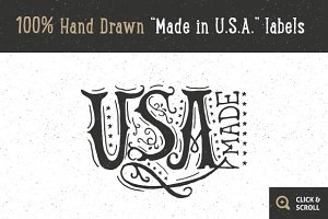 "12 Hand Drawn ""Made in USA"" labels"