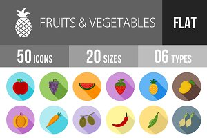 50 Fruits Flat Shadowed Icons