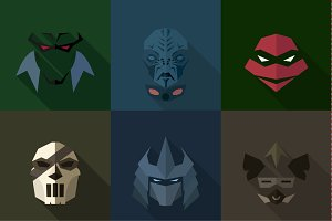 SuperHeroes Masks Flat (Set 11)