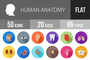50 Human Anatomy Flat Shadowed Icons