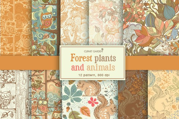 Forest plants and animals patterns.