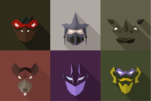 SuperHeroes Masks Flat (Set 12)