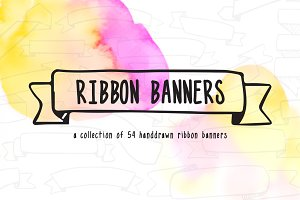 54 Hand Doodled Ribbon Banners