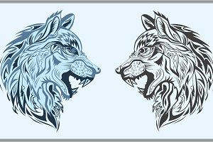 Graphic decorative wolves