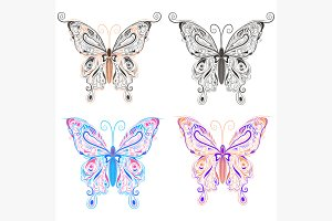 Set butterflies ornamental style