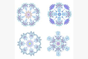Set circular floral ornaments