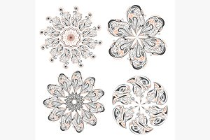 Set of circular floral ornaments