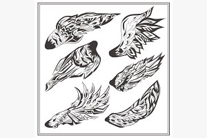 Set of wings in vintage style