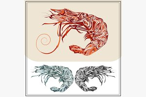 Set ornamental shrimps