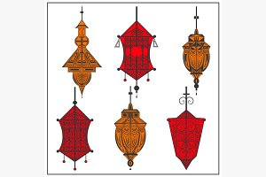 Set of ornamental ethnic lanterns