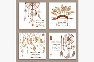 Set greeting cards ethnic style