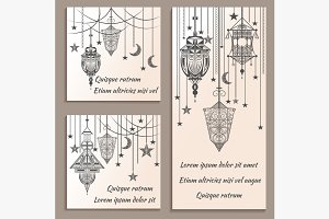 Set of greeting cards ethnic