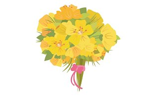 Bouquet of daffodils vector