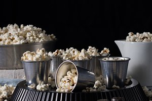 Dark still life with popcorn