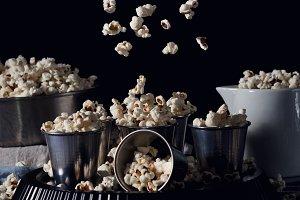 Dark still life with popcorn