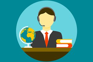 Translator man flat icon