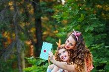 Photos in park. Group selfies.