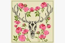 Deer skull antlered, flowers peonies