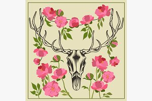Deer skull antlered, flowers peonies