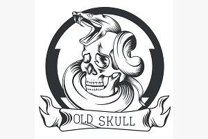Skull snake ribbon logo