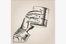 Male hand holding glass