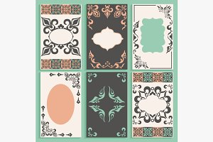 Set cards arabesque ornament