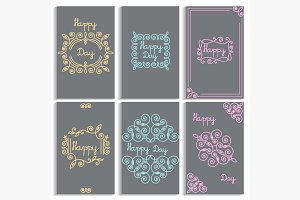 Set cards frame, monogram