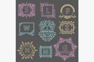Set logos template emblem