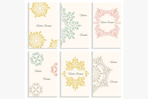 Set cards circular linear ornament