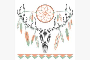 Ethnic deer skull Dreamcatcher