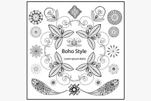 Set ornamental Boho style elements