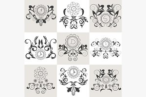 Set of emblems floral ornament