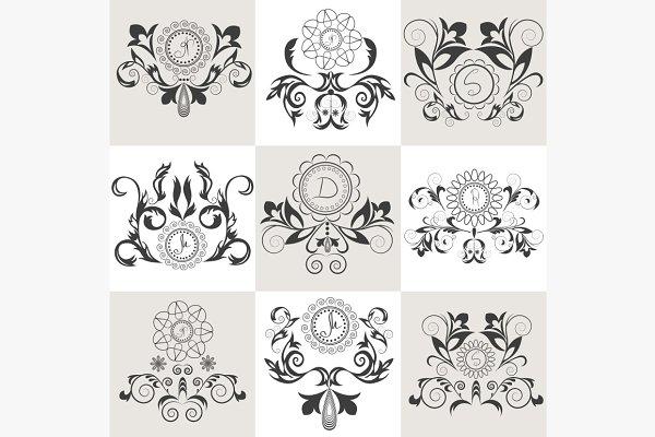 Set of emblems floral ornament