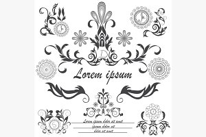 Set of decorative logos floral